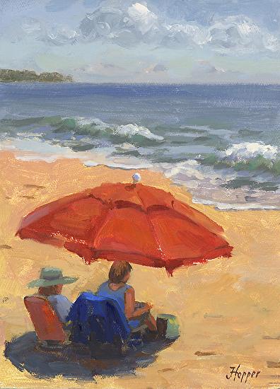 Beach Umbrella - Oil on Panel