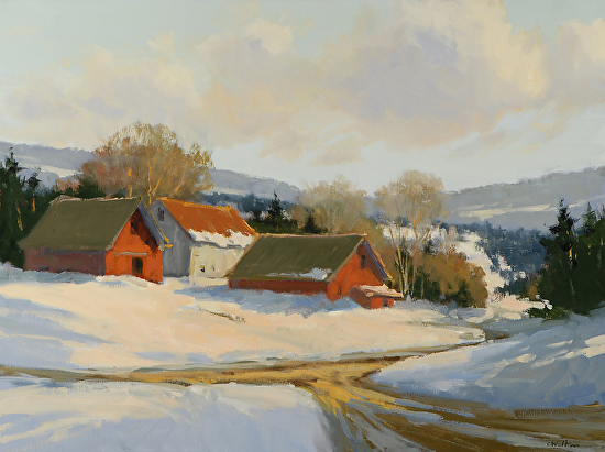 Sunlit Farm at the CrossRoads - Oil