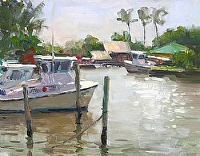 Southern Harbor by Richard Oversmith Oil ~ 11 x 14