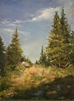 Sunlit Pines by Paula B. Holtzclaw Oil ~ 8 x 6