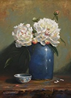 Peonies with Asian Bowl by Paula B. Holtzclaw Oil ~ 16 x 12