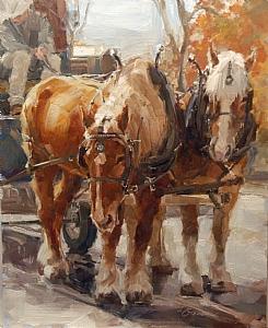 Belgians Resting by Lindsey Bittner Graham Oil ~ 20 x 16