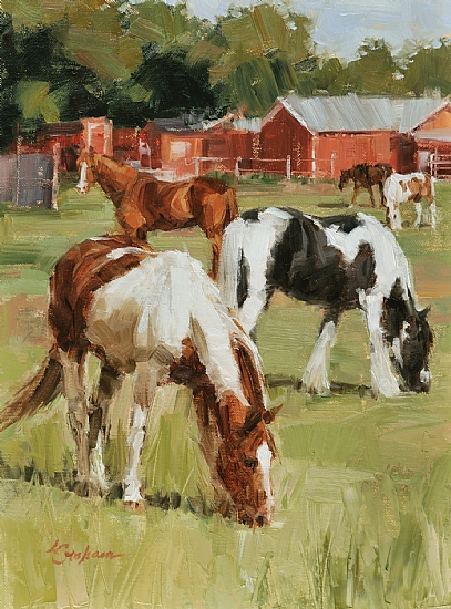 South Pasture by Lindsey Bittner Graham Oil ~ 12 x 9