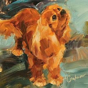 """Always Wagging"" canvas giclee print by Lindsey Bittner Graham giclee on canvas ~ 4.25"" x 4.25"""