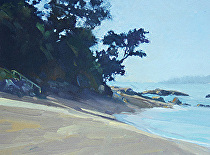 Matheson Bay Cove, New Zealand by Joe Garcia Oil ~ 6 x 8