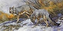 Trail Mates by Joe Garcia Watercolor ~ 11 x 30