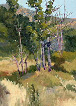 Near Woody's Pond, Plein Air by Joe Garcia Oil ~ 12 x 9