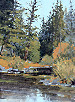Autumn Creek, Plein Air by Joe Garcia Oil ~ 12 x 9