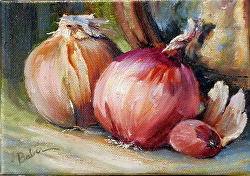 "5x7 oil on Canvas, ""Onions 1"" Daily painting #9"