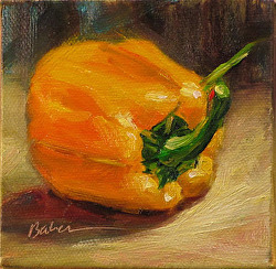 "#29 Daily Painting by Gabriele Baber ""Yellow Bell Pepper"" 4x4 oil"