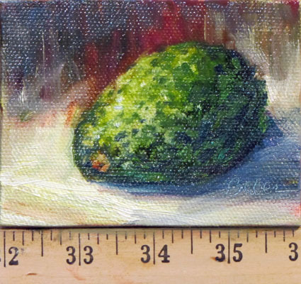 Daily Painting #31 Avocado1 by gabriele baber Oil ~ 3 x 4