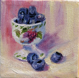 "#34 Daily Painting ""Egg Cup and Blueberries"" by gabriele baber Oil ~ 4 x 4"