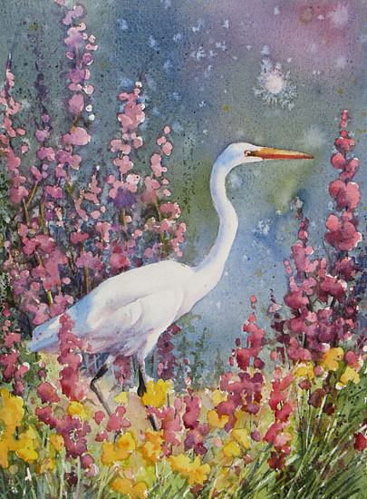 June's Egret by gabriele baber Watercolor ~ 14 x 11