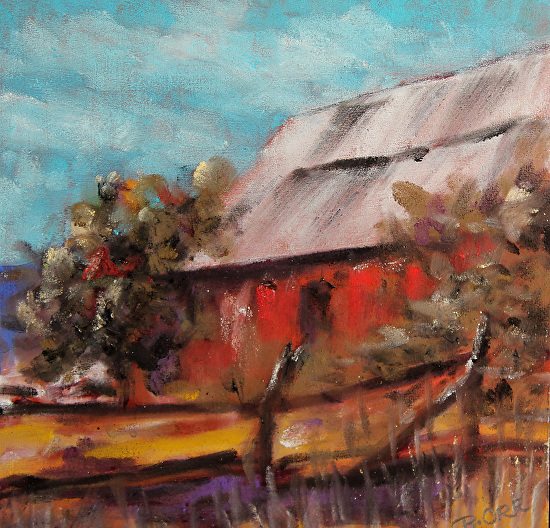 good pasture barn - morning light - Pastel