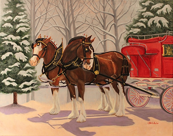 Budweiser Clydesdales in Snow by Ruth Soller Oil   16 x 20Budweiser Clydesdales In Snow