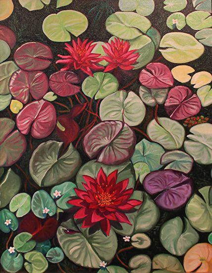 Red Water Lilies by Ruth Soller Oil ~ 28 x 22