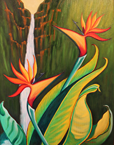 Birds of Paradise by Ruth Soller Oil ~ 28 x 22