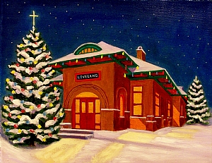 Loveland Depot, CO by Ruth Soller Oil ~ 11 x 14