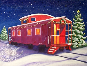 Christmas Caboose by Ruth Soller Oil ~ 11 x 14