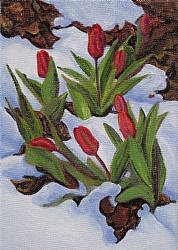 Tulips in Snow, oil, 7x5, $200