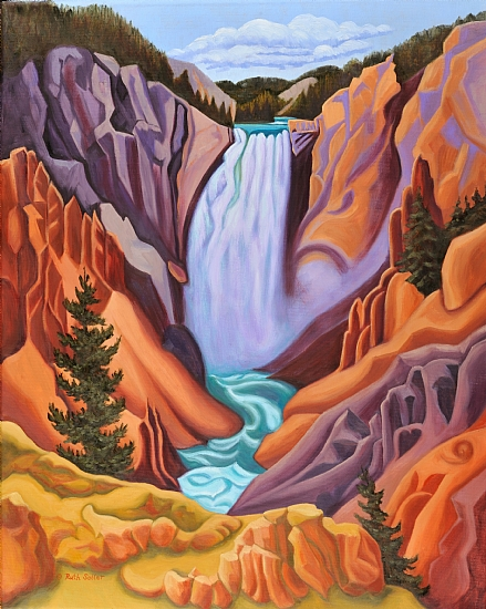 Lower Falls of the Yellowstone - Oil