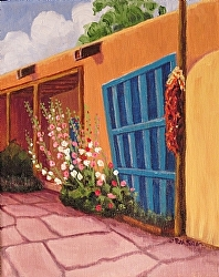 Puerta Azul en Taos (c) Ruth Soller, oil on canvas, 10x8