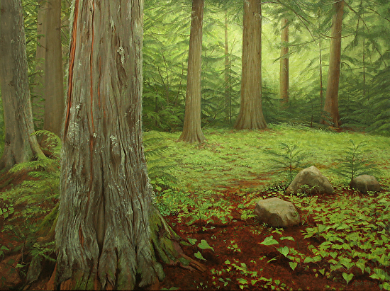 A Walk in the Woods (Diptych--Left) - Oil