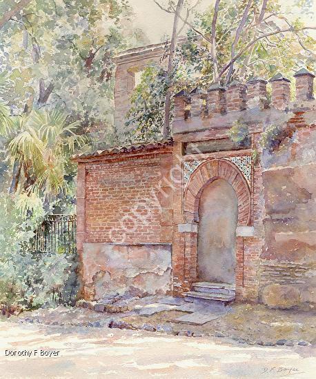 Moorish Traces in Granada by Dorothy Boyer Watercolor ~ 18 1/2 ins x 15 7/8 ins