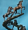 Earth-born  -- close up of lead horses by James Roybal Bronze ~ 41 x 18