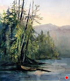 Lost Lake by Bonnie White Watercolor ~ 28 x 21