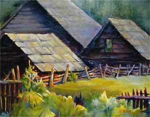 Smoky Mountain Farmstead 4 by Phyllis Steimel Oil ~ 16 x 20