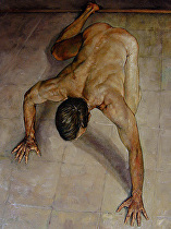 Studio Nude on the Floor (Spiderman) by Ron Griswold Oil ~ 36 x 30