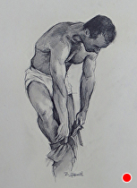 Pencil Study For the Bather by Ron Griswold Charcoal ~ 12 x 9