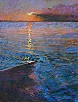 Sound Side Sunset by Ron Griswold Oil ~ 14 x 11