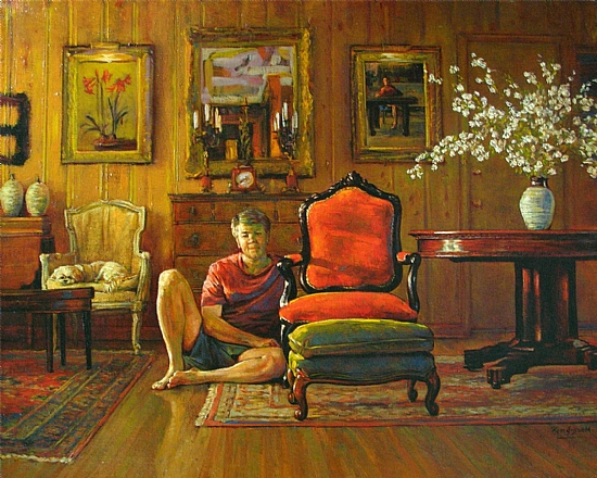 Family Room (Self Portrait) by Ron Griswold Oil ~ 16 x 20