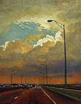 Pensacola Bay Bridge. by Ron Griswold Oil ~ 14 x 11