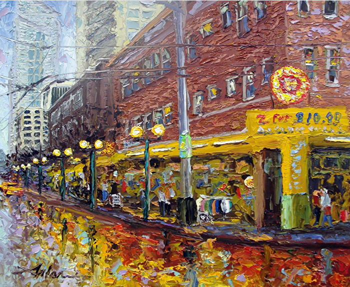 "First and Pike by Arlon Rosenoff Palette Knife Oil ~ 17"" x 21"""