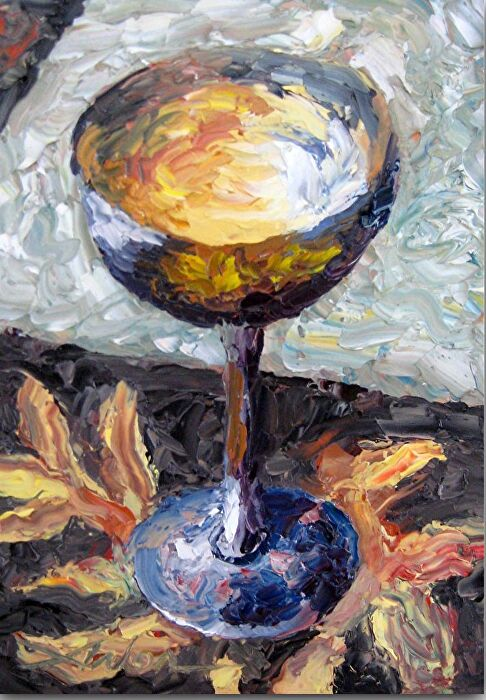 "The Goodwill Chalice by Arlon Rosenoff Palette Knife Oil ~ 7"" x 5"""