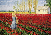 "Tulip Fields by Arlon Rosenoff Palette Knife Oil ~ 37"" x 54"""