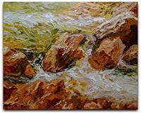 "Rocky MT Water by Arlon Rosenoff Palette Knife Oil ~ 16"" x 20"""
