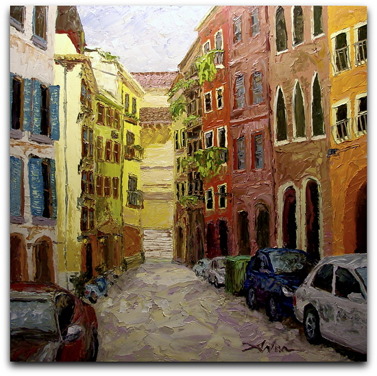 "Verona Alley by Arlon Rosenoff Palette Knife Oil ~ 48"" x 48"""