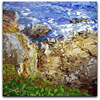 "Rocky Shoreline by Arlon Rosenoff Palette Knife Oil ~ 24"" x 24"""