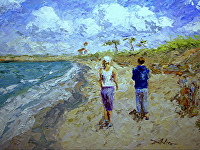 "Midafternoon Walk by Arlon Rosenoff Palette Knife Oil ~ 36"" x 48"""