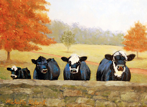 Curious Cows by Michelle Rideout Oil ~ 9 x 12