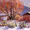 Last Snow For Spring by Richard Alan Nichols Oil ~ 30 x 30