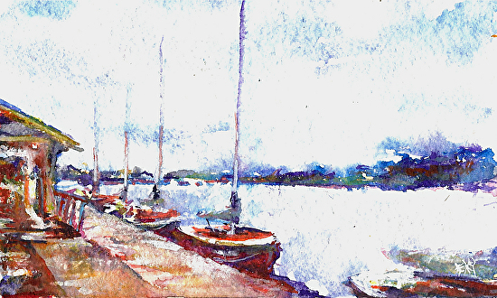 Seattle's Center For Wooden Boats - Watercolor