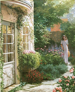 Villa Garden by Anne Bridge Pastel ~ 25 x 17
