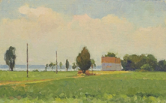 Teak's House, Afternoon Light by James Coe Oil ~ 10 x 16