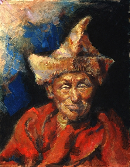 The Laughing Monk by Ellen Dreibelbis Oil ~ 14 x 11
