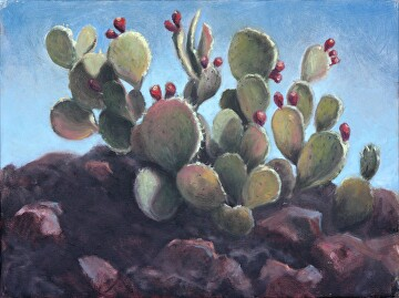 "Desert Sculpture by  Oklahoma Lady Artists Oil ~ 12"" x 16"